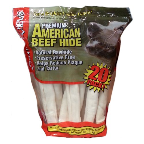 "Rawhide Retriever Rolls 10"" Natural Beef 20 Count - Click Image to Close"